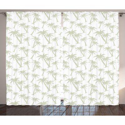 East Urban Home Tropical Room Darkening Rod Pocket Curtain Panels