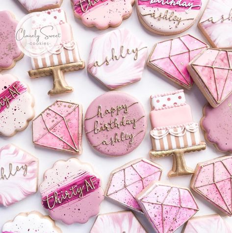 If you're on the hunt for fun, cute birthday party ideas, look no further. We've got lots of decor, food, and theme ideas right here for a memorable bash. 30th Birthday Ideas For Women, 21st Bday Ideas, 21st Birthday Decorations, Thirty Birthday, 31st Birthday, Golden Birthday, Cookies Roses, Pink Cookies, Sugar Cookies