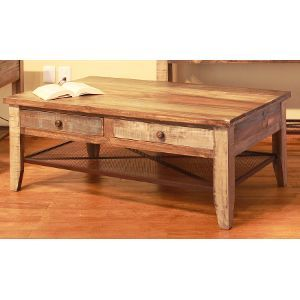 Pine Two Tone Wood Coffee Table Tanmeron With Images Coffee