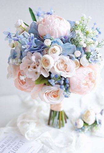 Blue Wedding Flowers bridal bouquet shapes tender haid tied bouquet lemongrasswedding - Wedding bouquet is an important bride's accessory. There are plenty different kind of flowers and seven of the most popular bridal bouquet shapes. Light Blue Bridesmaid Dresses, Blue Bridesmaids, Bridal Flowers, Flower Bouquet Wedding, Bouquet Flowers, Wedding Flower Bouquets, Bridal Bouquet Pink, Prom Flowers, Pink Wedding Flower Arrangements