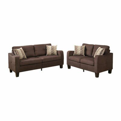 Red Barrel Studio Polyfiber 2 Pieces Sofa Set With Accent Pillows Dark Grey Upholstery Brown In 2020 Sofa Loveseat Set Cheap Living Room Sets Living Room Sets