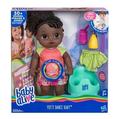 Baby Alive Potty Dance Baby Doll Black Curly Hair Baby Alive Baby Dolls Baby Doll Accessories