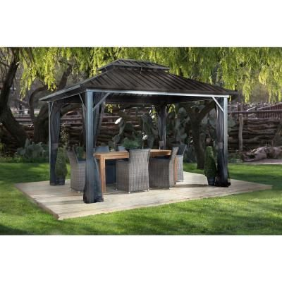 Archwood 12 Ft X 10 Ft Cedar Frame Gazebo With Double Tier Steel Roof Hardtop Aluminum Gazebo Steel Roof Panels Roof Panels