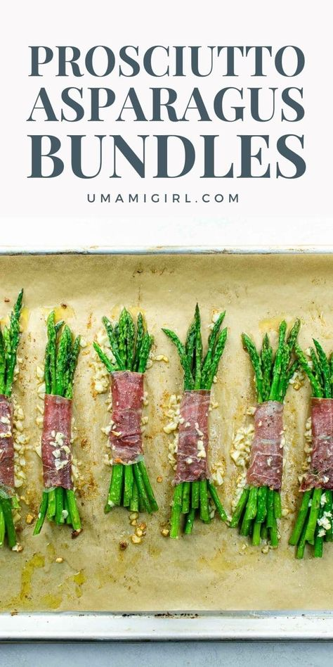 Asparagus bundles wrapped in prosciutto, brushed with garlic butter, and sprinkled with freshly squeezed lemon juice make a beautiful, party-worthy side dish that's also super-easy. Save this pin for later, and click through to learn how to make them. #asparagusbundles #asparagusbundlesprosciutto #prosciuttoasparagusbundles