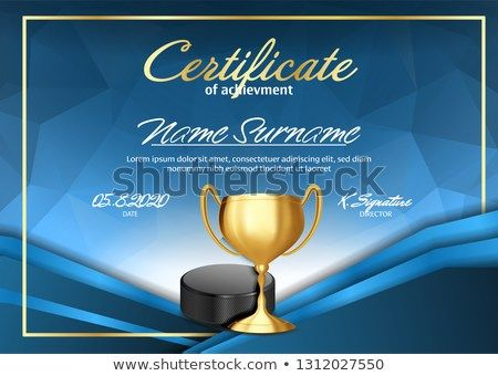 Ice Hockey Game Certificate Diploma With Golden Cup Vector Sport Graduate Champion Best Prize Winner Trophy A4 Horizont Hockey Games Ice Hockey Certificate