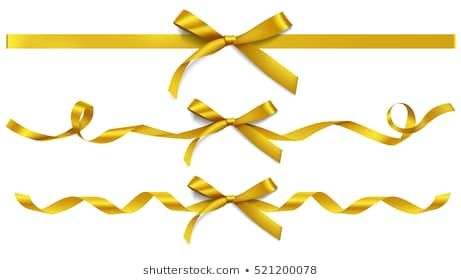 Set Of Decorative Golden Bows With Horizontal Gold Ribbons