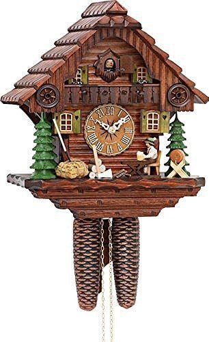 Rare German Black Forest Cuckoo Hunter Clock Painted Carved Wood Vintage Clock Painting Clock Cuckoo Clock