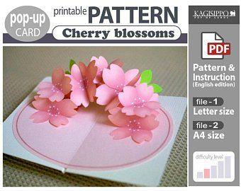 Pop Up Card Patterns Par Popupcardkagisippo Sur Etsy Pop Up Card Templates Pop Up Flower Cards Card Patterns