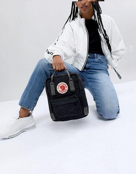Fjallraven Mini Kanken Black Backpack With Contrast Stripes at ASOS.