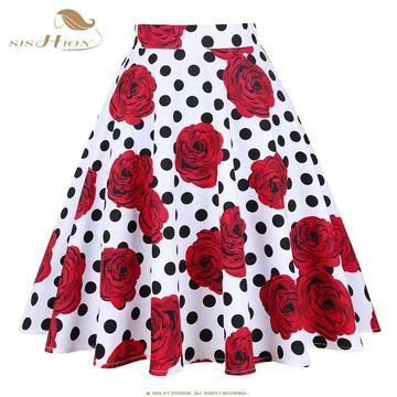 90b5cacf773 Summer Skirts Women Midi High Waist Floral Skirt 2018 Polka Dot Rose ...