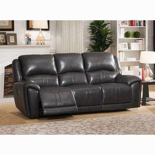 Ari Grey Top Grain Leather Power Reclining Sofa With Power