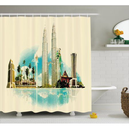 Landscape Shower Curtain India Asian Kuala Lumpur Cityscape Buildings Palms Tropical Country Image Art Fabric B Country Bathroom Bathroom Sets Diy Home Decor