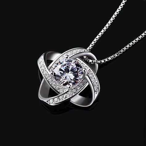 925 Sterling Silver Pendant Necklace Snake Chian Four Leaf Zircon Swarovski Elements Crystal for Women * Find out more about the great product at the image link. (This is an affiliate link) #JewelryLover