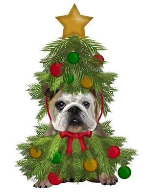 World Art Group English Bulldog Christmas Tree Costume Fab Funky Christmas Artwork Christmas Tree Costume Christmas Prints