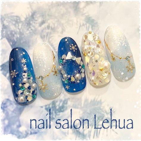 冬/クリスマス/雪の結晶/ホワイト/水色 , Lehua(レフア)大木萌子