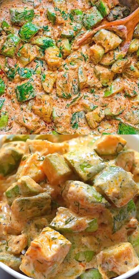 This Creamy Zucchini Sauce is bursting with flavor! Made with paprika-roasted zucchinis, sour cream, garlic, and fresh herbs, it tastes great with pasta, over rice, or just with a slice of bread. FOLLOW Cooktoria for more deliciousness! #zucchini #dinner #lunch #vegetarian #keto #lowcarb #ketosis #ketorecipe #ketodiet #tasty #recipeoftheday