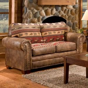 American Furniture Classics Sierra Lodge Brown And Rust Microfiber And Tapestry Pattern With Nail Head Accents Loveseat Love Seat American Furniture Furniture