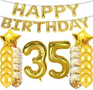 لوازم حفلات التزيين عيد الميلاد الـ35 بالونات ذهبية رقم 35 بالونات مايلر من اللاتكس تز Birthday Gifts For Girls Mylar Balloons 16th Birthday Gifts For Girls