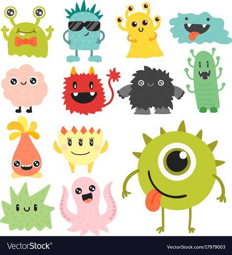 Funny cartoon monster cute alien character vector image on VectorStock