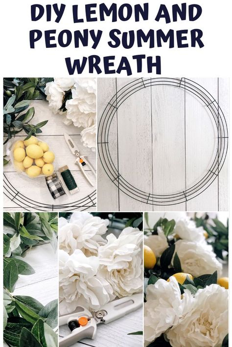 DIY Lemon and Peony Summer Wreath   I show you how to make this wreath in just a few simple steps!     #DIY #summerdecor #summerwreath #wreath #farmhousestyle #farmhousedecor