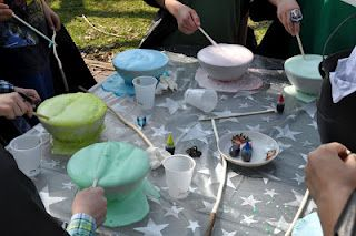making potions during our harry potter party!