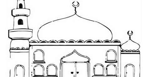 Gambar Masjid Hitam Putih Png Gambar Masjid Kartun Hitam Keren