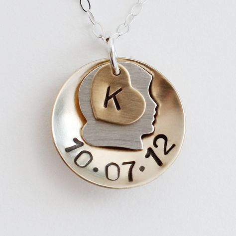 Personalized Girl Necklace Mommy Necklace Birthdate Children Sterling Silver Heart Charm Mothers Day Jewelry. $39.00, via Etsy.