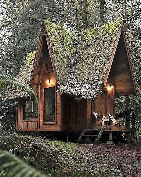 Small Home Lifestyles On Instagram Just Something About Those Lines Of The Roof And That Moss That Just Invites On Tiny House Cabin Small House A Frame House