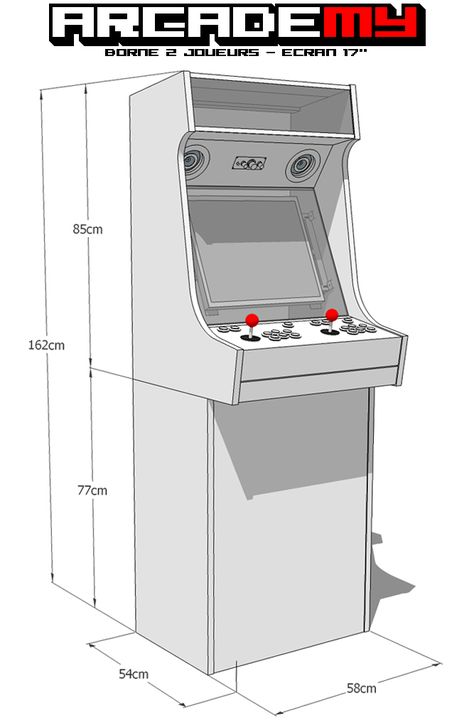 Début de conception du kit grande borne d'arcade. La borne est diviser en 2 parties démontables : un grand bartop 2 joueurs sur le dessus et un caisson armoire en dessous pour ranger vos dvd, jeux, consoles ou autres.