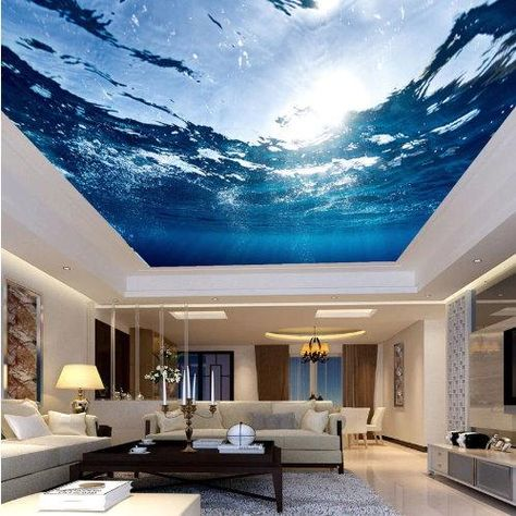 High quality underwater ocean ceiling wallpaper. 3d water wall mural for ceilings. Great for home or business. We have a wide selection creative art wallpapers to choose from. Customization and shipping is free.