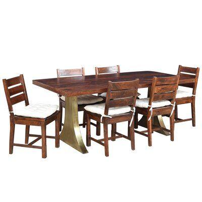 Loon Peak Valerie 7 Piece Solid Wood Dining Set Solid Wood Dining Set Metal Base Dining Table Dining Set