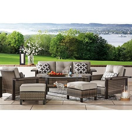 Member S Mark Agio Manchester 6 Piece Patio Deep Seating Set With Sunbrella Fabric Sam S Club Outdoor Seating Set Deep Seating Patio Furniture Deep Seating