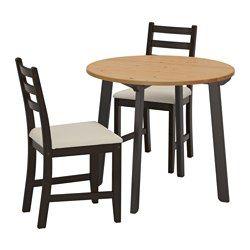 LERHAMN Tisch und 2 Stühle schwarzbraunVittaryd beige