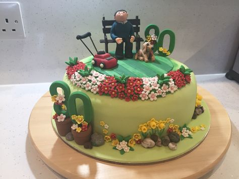 Rich Fruit Cake Fed With Brandy Birthday For 80 Years Old Gardener Fondant Decoration