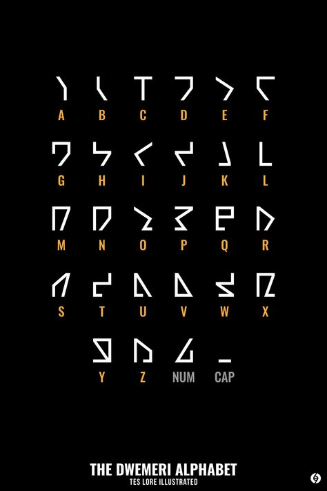The language of the Dwemer, sometimes called Dwemeris, uses an alphabet that consists of 28 letters, 26 of which correspond to the letters of the Latin alphabet, and 2 special letters: one of which. Alphabet Code, Sign Language Alphabet, Alphabet Symbols, Ancient Alphabets, Ancient Symbols, Different Alphabets, Schrift Design, Secret Code, Useful Life Hacks