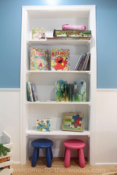 Summer Upcycle: Dooryway Turned Built-in Bookshelf