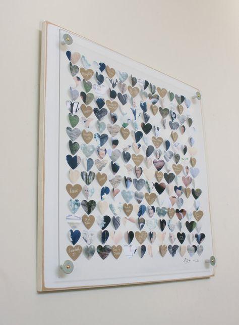 Wedding Guest book album alternative / 3D Heart by CeladonHome
