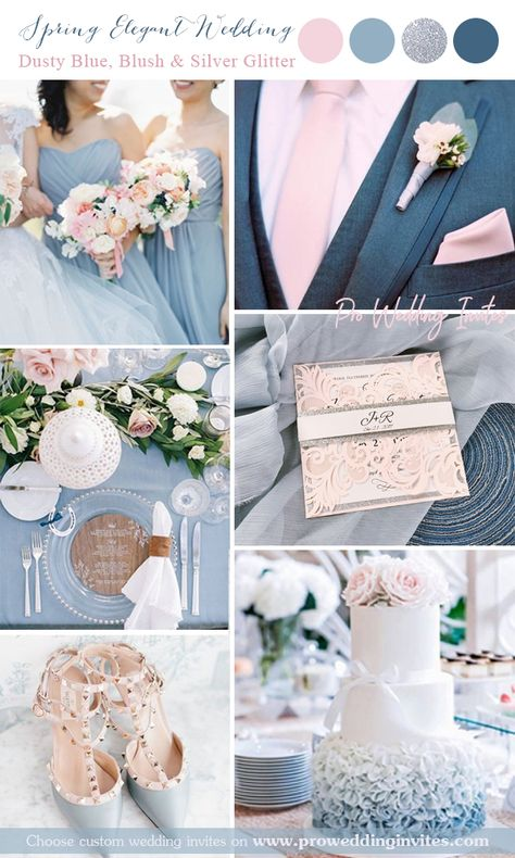 Elegant Blush Pink Laser Cut Wedding Invitation With Silver Glitter Belly Band