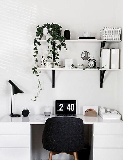 Arbeitszimmer Home Office Buro In Schwarz Weiss Wandregal Regal