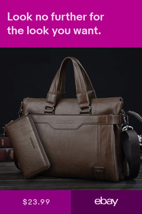 c9320a319e2f US Mens Soft Leather Business Briefcase Messenger Handbag Laptop ...