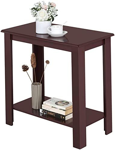 Modern Narrow Dark Espresso Nightstand Wooden Side Table 2 Drawers Night Stand Nightstand Sidetable End Tables With Drawers Chair Side Table Sofa End Tables