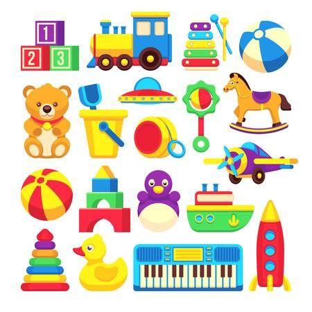 Juguetes Para Ninos De Dibujos Animados Vector Coleccion De Iconos Juguetes De Colores De Conjunto La Ilustracion Del Caballo Del Juguete Y El Pato Juguetes Para Colorear Juguetes Juguetes Preescolares