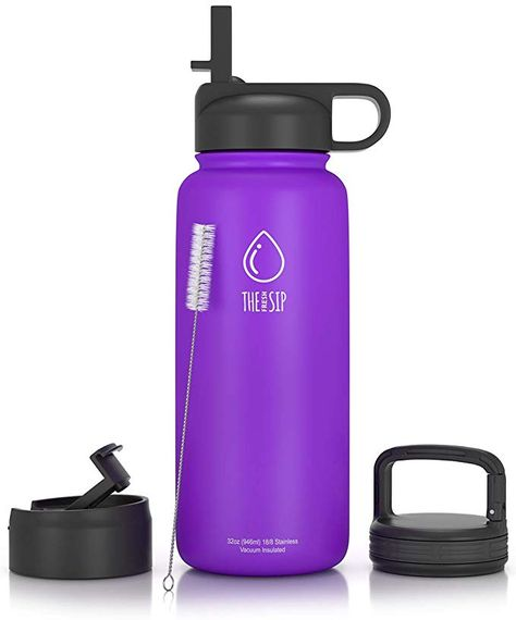 Stainless Steel Water Bottle With Straw Flip And Carabiner Lids 32 Oz Or 1 Liter Bpa Free Vacuum Insulated Metal Water Bottle Water Bottle With Straw Bottle