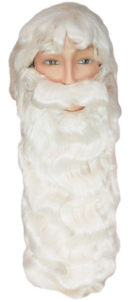 Mens Black Deluxe Long Beard Plush Thick Halloween Fancy Dress Party Accessory