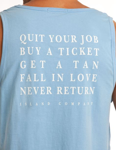 Men's Azul Blue QYJ Tank - Quit Your Job, Buy a Ticket |Island Company