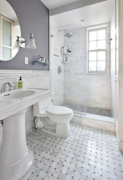 Light and bright bathrooms. #HomeGoodsHappy I would do the floor as the wall and the floor in slate