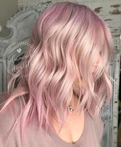 Blonde Hair Pastel Pink Ombre Highlighted Medium Length Hair Ombrehighlights Light Pink Hair Pink Blonde Hair Hair Color Pink