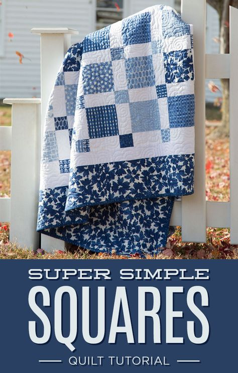 Use Brown little squares, Brown Binding & blue and whites. New Friday Tutorial: The Super Simple Squares Quilt Super Simple Squares Quilt Free Tutorial designed by Jenny of Missouri Quilt Co This Super Simple Squares Quilt is exactly what I've been looki Charm Pack Quilts, Charm Quilt, Lap Quilts, Scrappy Quilts, Amish Quilts, Quilting Tutorials, Quilting Designs, Quilting Ideas, Quilting Projects