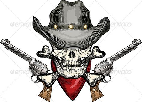 ad3d55bc4a5 Skull in Cowboy Hat  GraphicRiver