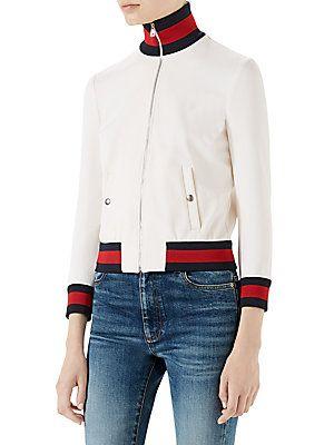 505bffa29 Gucci Long Sleeve Tech Gab Jersey Web Jacket | My Style | Jackets ...